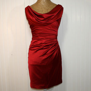 DAVID'S BRIDAL Red Cowl Neck Satin Cocktail Dress